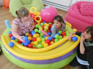Children in ballpool